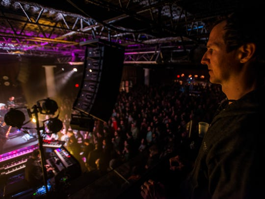 Higher Ground founding partner Alex Crothers watches the Mike Gordon show from the crow's nest Thursday night, April 5, 2018, in South Burlington, but doesn't stay for long. Throughout the night, Crothers would circulate around the venue, checking in on his staff and making sure everything was running smoothly.