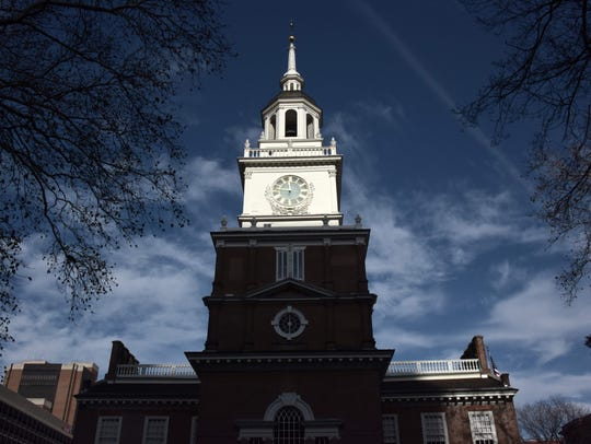 View of Philadelphia's Independence Hall, where the