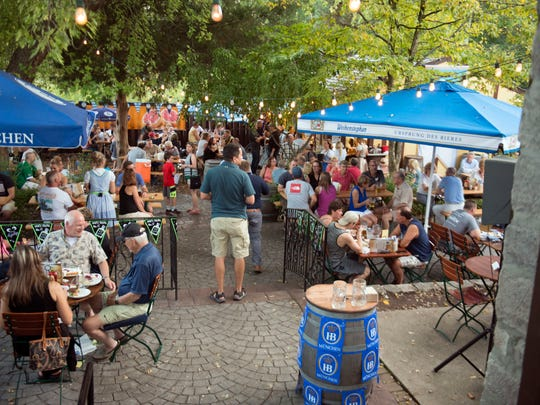 The beer garden at  bier garden at Old Town Beer Hall and Von Rothenburgs Bier Stube draws a crowd in summer.