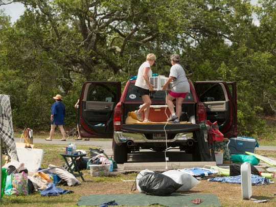 Campers at Fort Pickens pack their gear Saturday, May 26, 2018 ahead of  Subtropical Storm Alberto. The National Park Service put a 5 P.M. deadline for campers to leave the park.