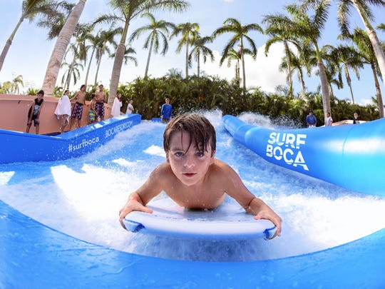 The FlowRider is a dual-sided wave simulator for a righteous surf-on-land experience. Available exclusively for property guests at Boca Raton Resort & Club, A Waldorf Astoria Resort.
