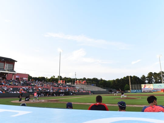Chris Tillman throws a pitch in the Delmarva Shorebirds game against the Hagerstown Suns at Perdue Stadium.