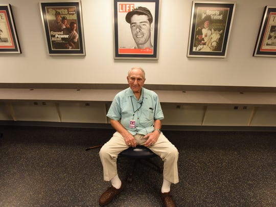 Newark-born Tom Giordano, at 92 years old, remains the oldest active scout in baseball. Here he's pictured at Yankee Stadium on July 3, 2018 when the Braves were in town to take on the Yankees.