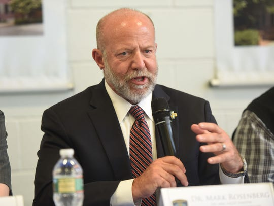 """Dr. Mark Rosenberg, chief of emergency medicine at St. Joseph's Health, speaks during a panel discussion on """"Bridging the Gap between Addiction and Recovery."""""""