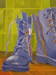 """Amber McGonegal, """"Lonely Boots,"""" Gouache on Bristol"""