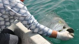 Research from projects like the acoustics tagging study by the Bonefish and Tarpon Trust can result in a greater number of tarpon releases for sport fishermen like this one.