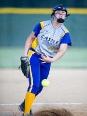 Castle's Sydney Wilson (22) pitches against Gibson