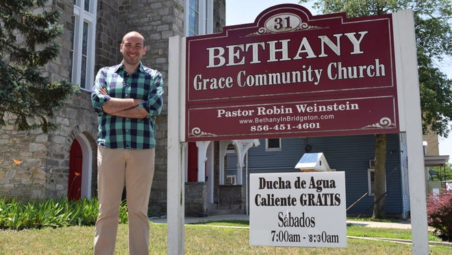 Dr. Robin Weinstein, pastor of Bethany Grace Community Church in Bridgeton, and president of the M25 Initiative is pictured in front of the church. The church opens its doors to the homeless Saturday mornings for showers. The M25 Initiative is the guiding agency of the Cumberland County Housing First Collaborative.