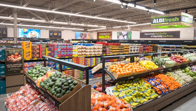 Produce section of an Aldi store.