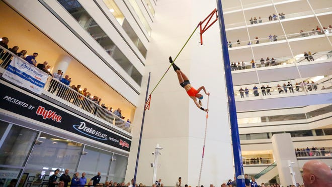 Sandi Morris competes in the Drake Relays Pole Vault at Capitol Square Wednesday, April 27, 2016.
