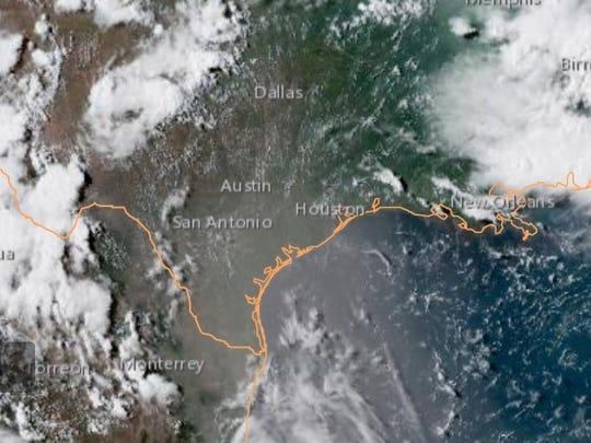 Dry, dusty air from the Sahara Desert spreads over Texas on Sunday, July 15, 2018.