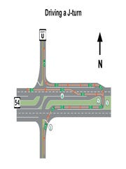 The state's plans for the J-turn intersection at Highways