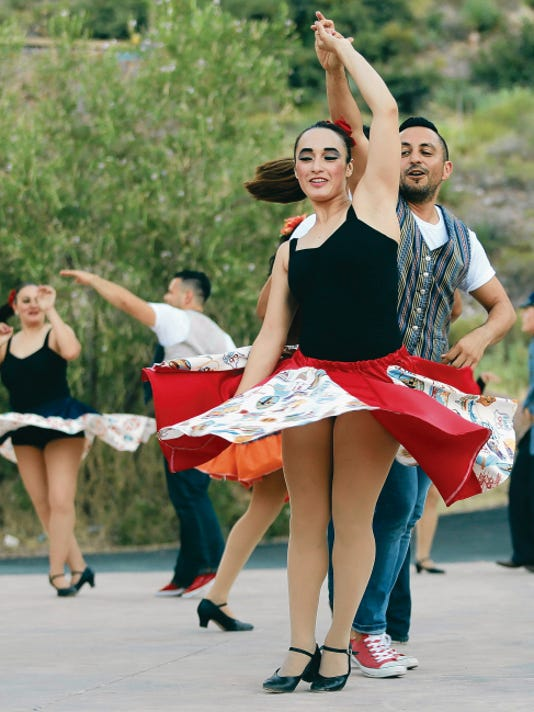 """Dancers rehearse Tuesday at the McKelligon Canyon Amphitheater for Friday's """"Viva! El Paso"""" performance."""