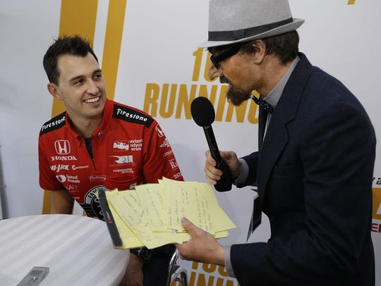 IndyCar driver Graham Rahal (15) is more then a little