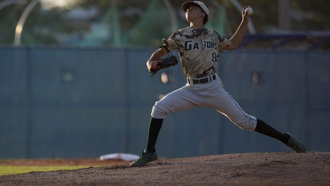 Island Coast pitcher Chase Chatman pitches against Barron Collier during the Class 6A regional quarterfinal Tuesday, May 9, 2017. Barron Collier would win 1-0.