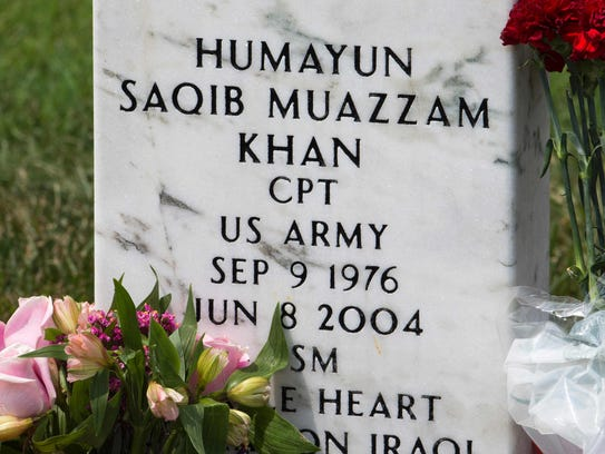 The grave marker for US Army Captain Humayun Saqib