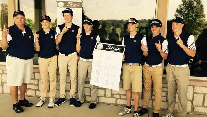After going 14-0 in duals, coach Bryce Lehman and his Galion golfers left no doubt about their MOAC supremacy by winning Thursday's league tournament by three strokes over Ontario. Pictured, left to right, are Lehman, Matt McMullen, Jack McElligott, Matt Kingseed, Mitch Dyer, Spencer Keller and Kaleb Harsh.
