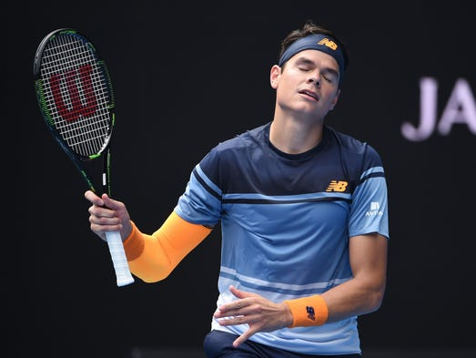 Canada's Milos Raonic reacts during his men's singles