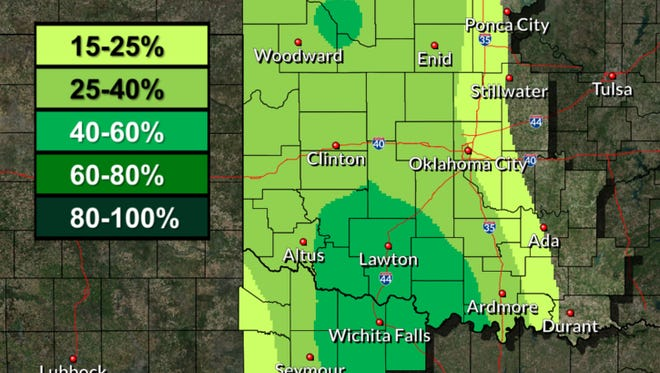 The National Weather Service is predicting a 50 percent chance for rain for much of the area, most likely to be isolated thunderstorms.