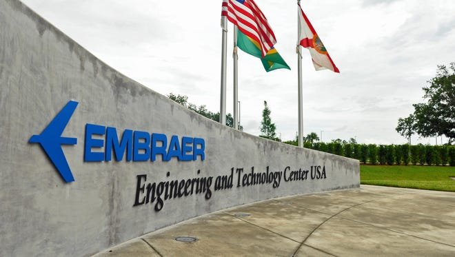 An exterior view of the Embraer Engineering & Technology Center USA in Melbourne.
