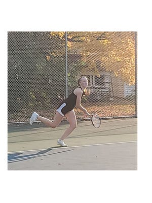 No. 1 singles player Brooklyn Moldan came back strong from a close first set loss to win her match at Maple River on Oct. 8.
