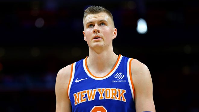 Dec 22, 2017; Detroit, MI, USA; New York Knicks forward Kristaps Porzingis (6) against the Detroit Pistons at Little Caesars Arena. Mandatory Credit: Aaron Doster-USA TODAY Sports