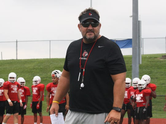 Colerain head football coach Tom Bolden directs practice on Wednesday, August 1, 2018.