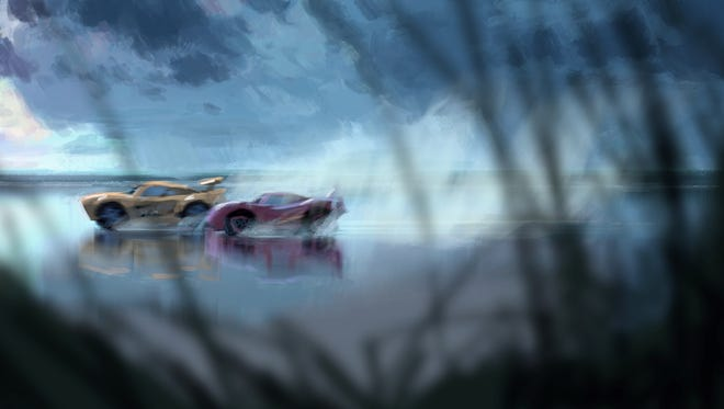 A first look at concept art for 'Cars 3' featuring Cruz Ramirez (the yellow car) and Lightning McQueen (red).