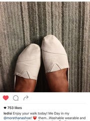 Instagram post from Grammy nominated singer, Ledisi, a big fan of SoGiv shoes and mission.