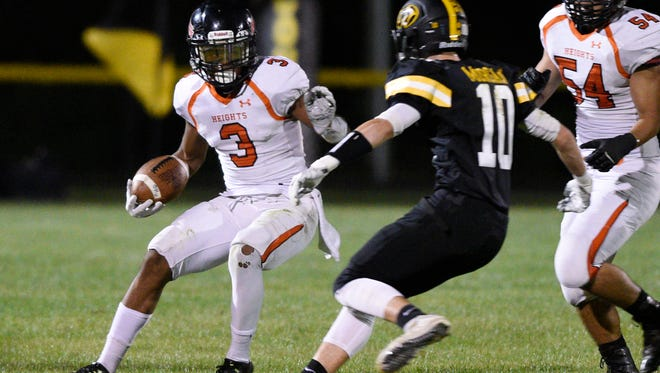 Hasbrouck Heights at Cresskill on Thursday, September 28, 2017.  HH #3 Jasiah Purdie runs with the ball in the second quarter.