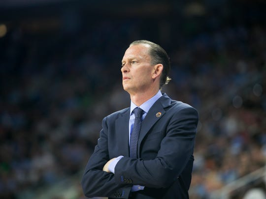 Joe Dooley coaches FGCU during their NCAA tournament game against UNC on Thursday, March 17, 2016 in Raleigh, NC.