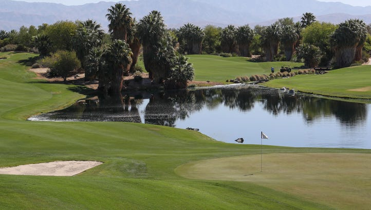 The ninth hole of the Firecliff course at Desert Willow