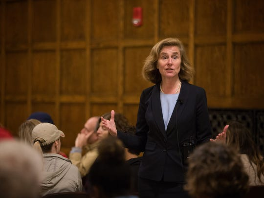 Iowa State University Presidential candidate Pamela Whitten takes questions in the Memorial union Tuesday, Oct. 10, 2017.