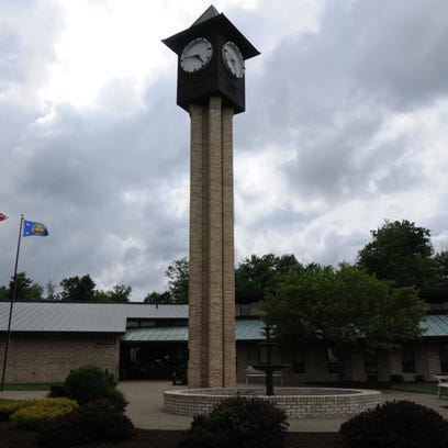 Ontario municipal building, with the city's clock tower