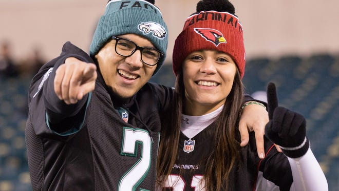 Philadelphia Eagles and Arizona Cardinals fans before action at Lincoln Financial Field last year.