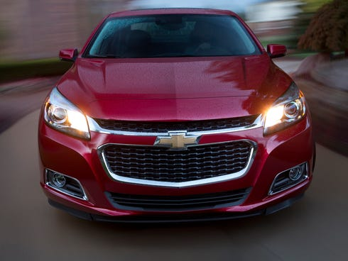 The new front end of the refreshed 2014 Chevrolet Malibu.