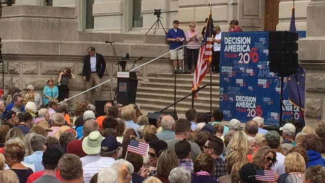 Thousands of supporters were on hand as Franklin Graham, son of Christian evangelist Billy Graham, spoke during a Decision America rally at the Indiana Statehouse Wednesday, Oct. 5, 2016.