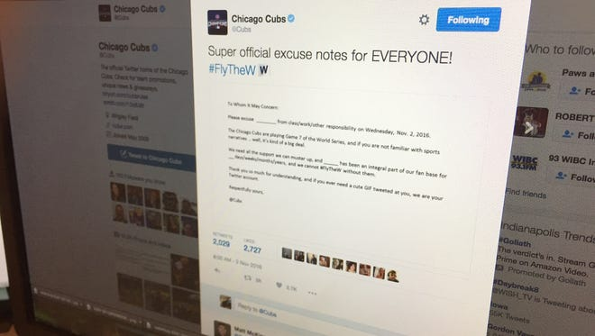 The Chicago Cubs posted an excuse note to help anxious Cubs fans before Game 7 of the World Series.