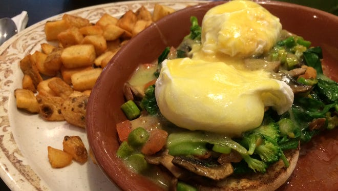 The Garden Benedict is among the favorites at The Egg Cafe & Eatery.
