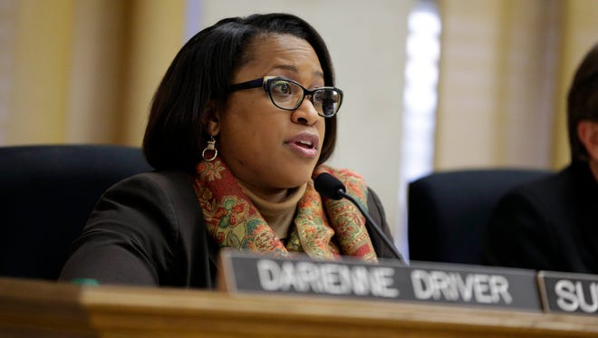 Outgoing Milwaukee Public Schools Superintendent Darienne Driver outlines budget proposals that could result in potential benefit cuts to school-level programs in the 2018-'19 budget during a meeting of the MPS Committee on Accountability, Finance and Personnel earlier this spring.