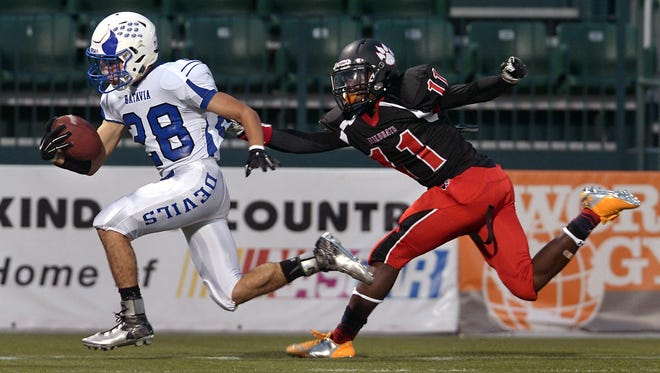 Batavia's Anthony Gallo beats Wilson's Royal Carmichael to the end zone for a Blue Devils' touchdown during regular season game played at Sahlen's Stadium on Friday. Batavia beat Wilson 34-28.