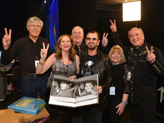Musician Ringo Starr Meets Backstage On November 22 2013 In Las Vegas NV With The Subjects Of A Photograph He Took Six Teens Car During