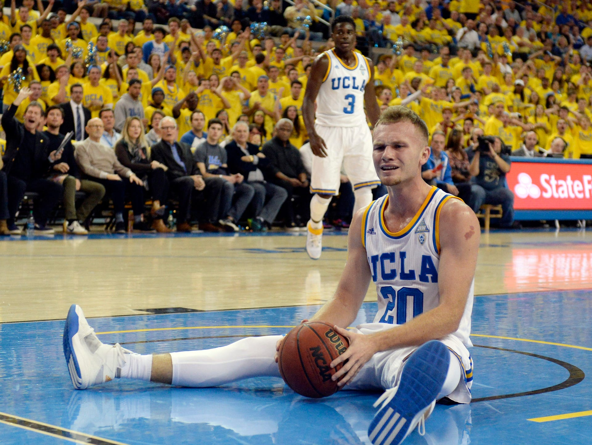 UCLA Bruins guard Bryce Alford (20) reacts to a play