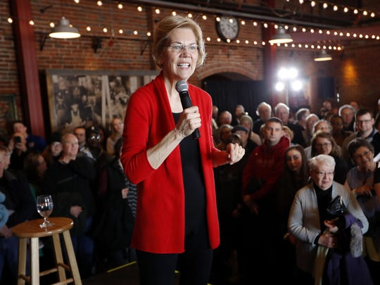 2020 Democratic presidential candidate Sen. Elizabeth Warren speaks to residents March 1 during an organizing event in Dubuque, Iowa.