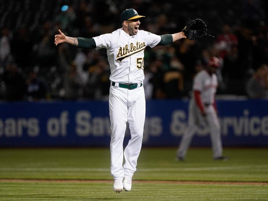 May 7, 2019: Oakland Athletics starting pitcher Mike