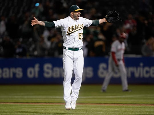 May 7, 2019: Oakland Athletics starting pitcher Mike Fiers celebrates after throwing a no-hitter against the Cincinnati Reds.