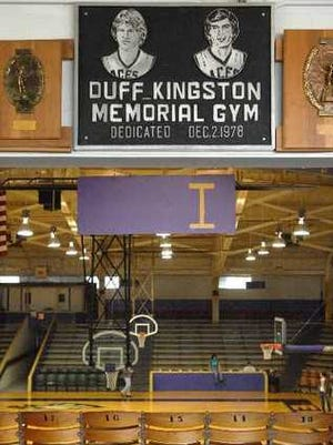 The plaque at Duff-Kingston Memorial Gym