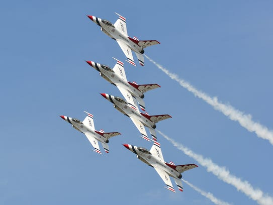 The United States Air Force Thunderbirds fly into Battle