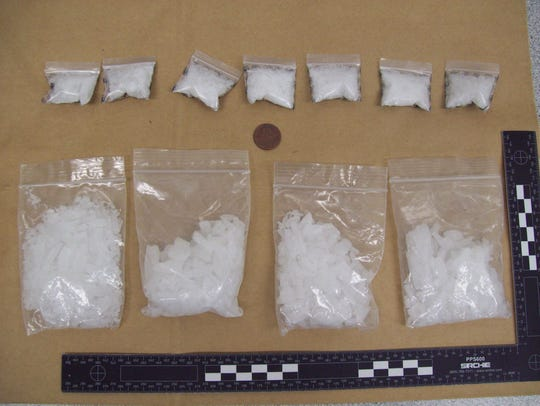 About 5 ounces of methamphetamine seized during an