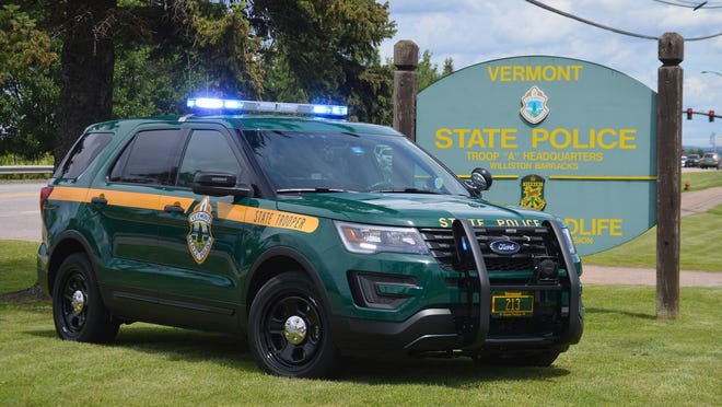 A Vermont State Police vehicle is parked at the Williston barracks in Willison.